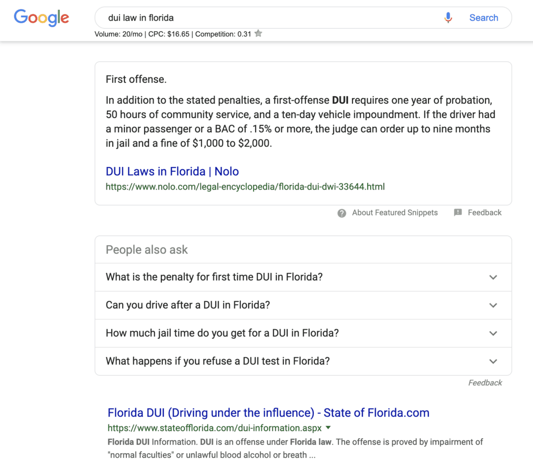 """A Google featured snippet for the search term """"DUI laws in Florida"""""""